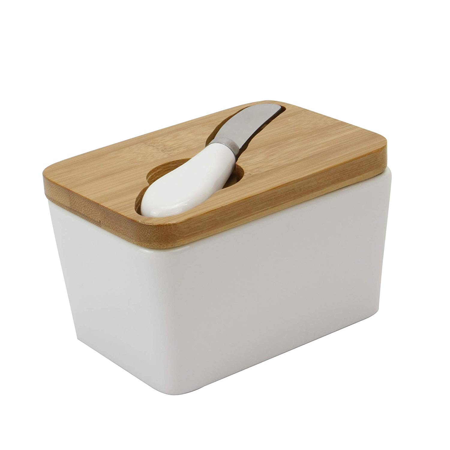 Porcelain butter dish with wooden lid, with a butter knife slotted into the lid