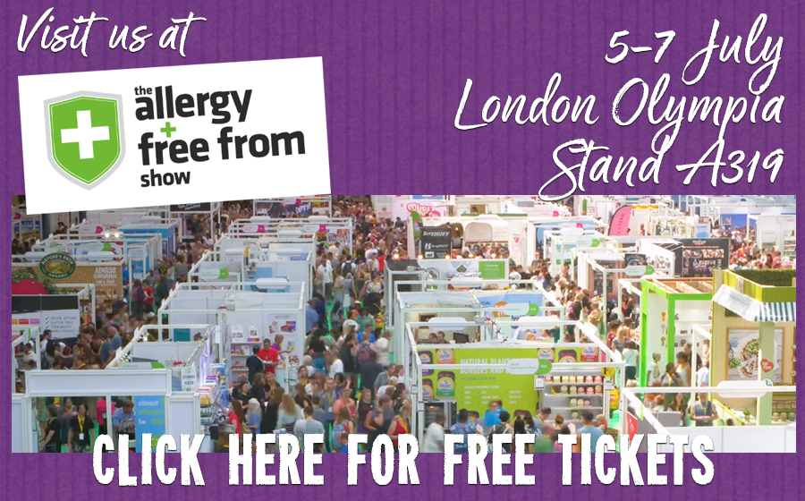 visit juvela at the allergy & free from show in London, Olympia. July 5-7th 2019